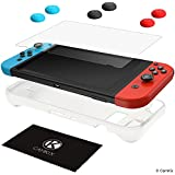 CamKix Protection Kit Compatible with Nintendo Switch: 1x Silicone Sleeve TPU Cover (White), 1x Anti Scratch Screen Protector and 6X Thumb Grip Cap (2X Red, 2X Blue and 2X Black)
