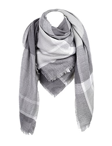 Cozy Checked Plaid Blanket Scarf   Soul Young Tartan Stylish Cape Wrap Shawl For Women And Men    One Size Grey