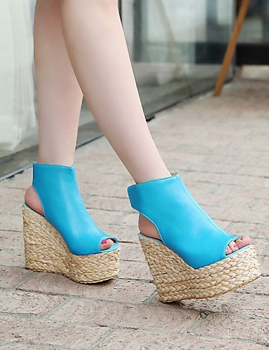 amp; Toe ShangYi Wedges Clogs Heels Peep Sandals Platform Women's Mules Heels Heel CasualBlack Shoes Blue Dress Outdoor qSrY4qP