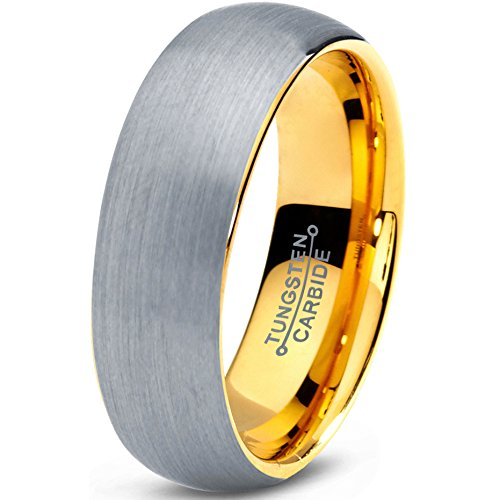 Tungsten Wedding Band Ring 7mm 5mm 2mm for Men Women Comfort Fit Yellow Gold Domed Brushed Exterior FREE Custom Laser Engraving Lifetime Guarantee