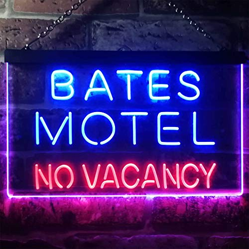 zusme Bates Motel No Vacancy Novelty LED Neon Sign Red + Blue W16 x H12 (No Vacancy The Best Of The Motels)