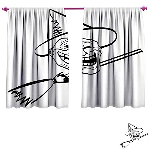 Humor Waterproof Window Curtain Halloween Spirit Themed Witch Guy Meme LOL Joy Spooky Avatar Artful Image Print Decorative Curtains for Living Room W55 x L63 Black and White -