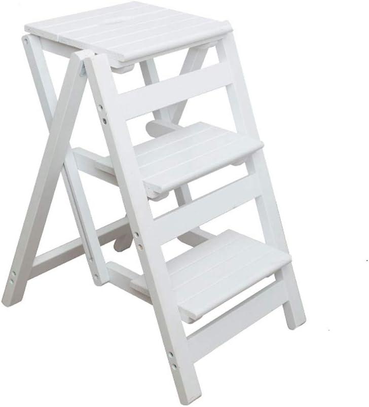 Paso Tres Taburetes Escalera de Madera Blanca, niño de los Cabritos Los niños Plegable 3 taburetes for niños Cocina Interior Adultos baño de Madera de la manija Plegable Flor Rack, Presidente de