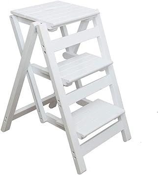 Paso Tres Taburetes Escalera de Madera Blanca, niño de los Cabritos Los niños Plegable 3 taburetes