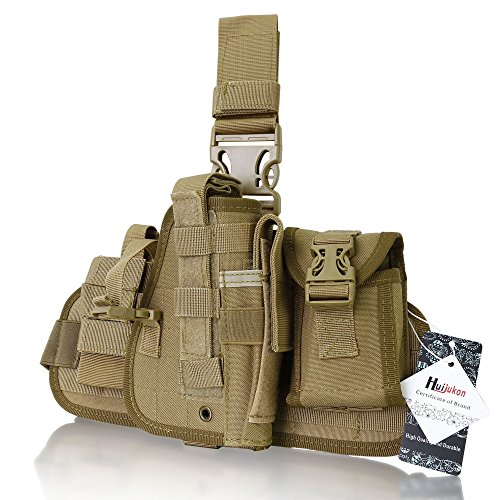 Huijukon Tactical Military Utility Gear Multi Purpose Drop Leg MOLLE Pouch Platform Rig With Included Three Detachable Pouches (Khaki)