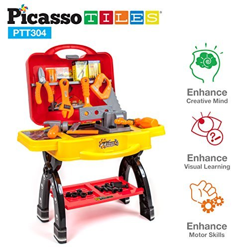 PicassoTiles Suitcase Pretend Play Set Toy Tool Workshop Work Bench Table 46pc DIY Take-A-Part Construction Building STEAM Kit Educational Toolbox with Child-Size Safe Large Parts, Carry Case (Play Workshop)