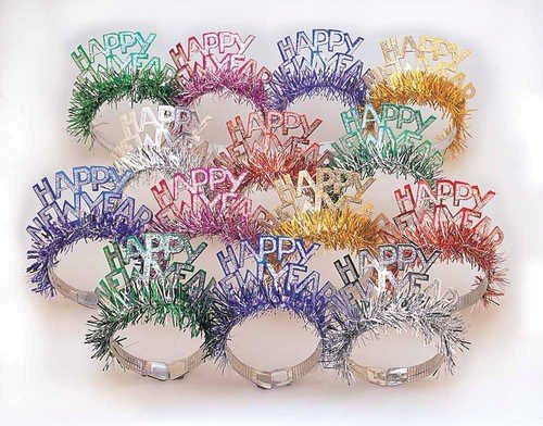 Creative Converting 50 Count Happy New Year Foil Tiaras with Foil Fringe, Multicolor