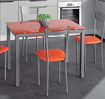 Table En Verre Noir Avec Rallonge Extensible Gris Translucide Orange