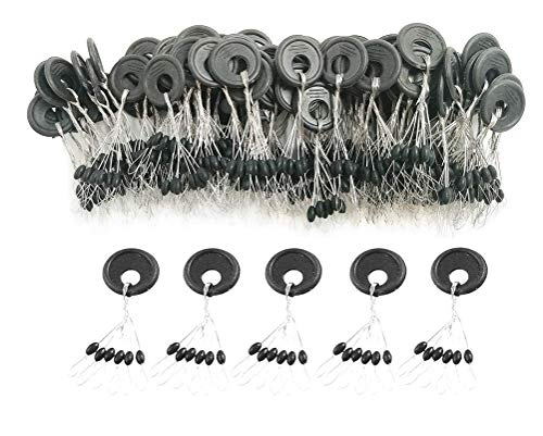 (DRCFISHING 600 Pcs Fishing Rubber Bobber Beads Stopper, 6 in 1 Float Sinker Stops, Black Oval,Size L,M,S Available (M))