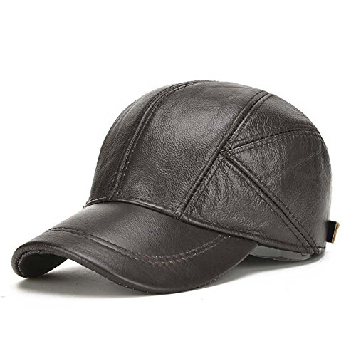 2017 new Men Cowhide hat Autumn and winter Keep warm The elderly outdoor Protect the ear Really leather adjustable Baseball cap (Leather Winter Hat)
