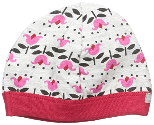 Coccoli Baby Girls' Flower Print Jersey Knit Cotton Cap, Heather Grey/Begonia, 3-6 - Coccoli Cotton