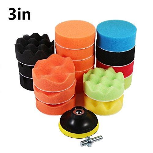 19Pcs Kit De Polissage tampon éponge Pad polissage Set de cirage Auto polisseur de voiture (M10 Adapteur)