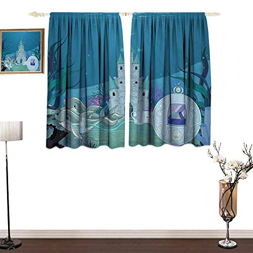 Genhequnan Ocean, Bedroom Full Blackout Curtain Panels, Fairytale Mermaid Castle with Dolphins Moss Fish Sun Beams Art Print, Art Prints Window Treatment, W63 x L63 Inches, Turquoise Pale Blue Teal