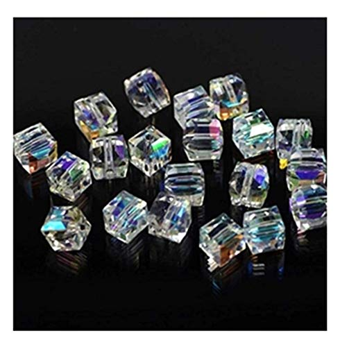 100Pcs AB Color Glass Crystal Square Cube Beads Findings Jewelry Making DIY (3mm)