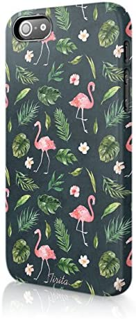 5s Tirita Personalised Initials Custom Wallet Leather Flip Phone Case Compatible with iPhone 5 SE 2016 Tropical Fruits Watercolour Flamingo Pineapple Bananas Watermelon Strawberries
