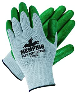 Memphis Glove FT350M FlexTuff Nitrile Cotton/Polyester Men's Gloves with Navy Hemmed Cuff, Green/Gray, Medium, 1-Pair