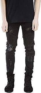 Battercake Pantaloni da Motociclista da Denim Tessuto Stretch Slim Uomo Fit Jeans A Coste Comodo Strappate Pantaloni da Jeans per Il Tempo Libero alla Moda (Color : Nero, Size : 29(Waist=73CM))