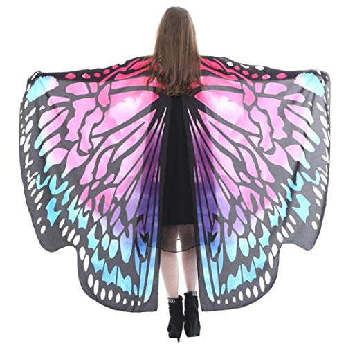 iDWZA Women Butterfly Wings Shawl Scarves Pixie Party Cosplay Costume Accessory(168135cm,Hot Pink -