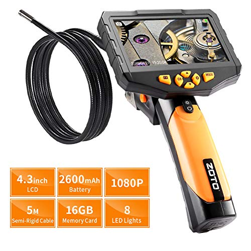 Industrial Endoscope,ZOTO 1080P Full HD 4.3 inch LCD Digital Inspection Camera with 5 Meters Semi-Rigid Tube 2600mAh Battery 16GB Memory DVR Waterproof Borescope Snake Camera (16.4 FT) (Black)