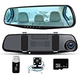 Car Camera Dash Cam Full HD 1080P, Rear View Mirror Dual Lens Camera,Car Video Driving Recorder with 150 Degree Wide Angle ,Car DVR with G-Sensor, Loop Recording, Parking control Mode, Car Charger