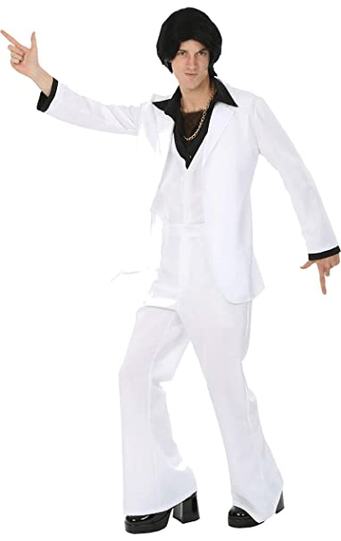 Disfraz Traje Blanco Fiebre de Discoteca de los años 70 ...