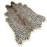 Leopard Print Rug 3.3' Wx3.1' L Feet Faux