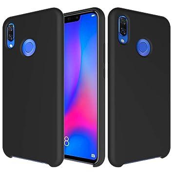 CoverTpu Funda Huawei P Smart Plus Silicona, Negro Funda Líquido de Silicona Gel TPU Flexible, Carcasa para Huawei P Smart Plus Anti-Rasguño y ...