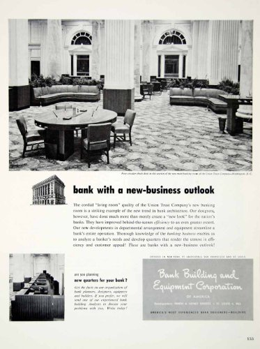 1949 Ad Bank Building Equipment Office Furniture Union Trust Carpet Decor Chair - Original Print Ad