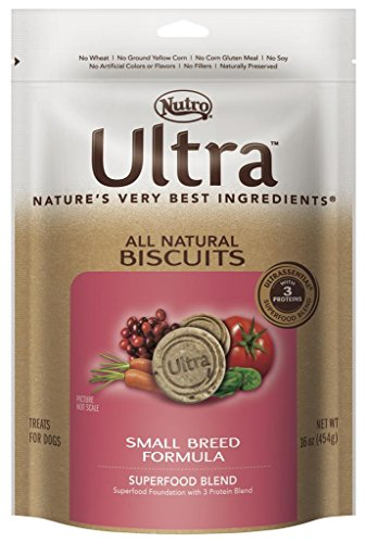 DISCONTINUED: ULTRA All Natural Biscuits Superfood Blend Small Breed Formula Dog Treats 16 Ounces ()