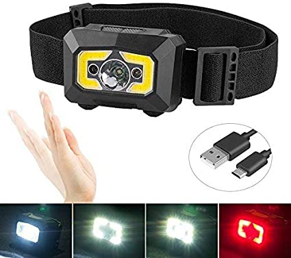 XPG+COB LED Camping Headlamp Hand Waving Sensor USB Rechargeable Headlight