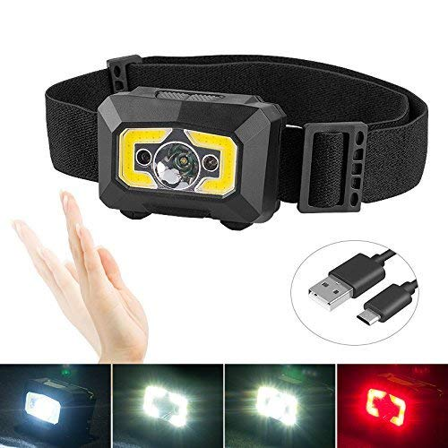 Rechargeable COB Headlamp, 500 Lumens White LED Head Lamp Flashlight with Red Light, Motion Sensor Brightest Headlights Best for Kids, Running, Hiking, Lightweight, Waterproof, Adjustable Headband