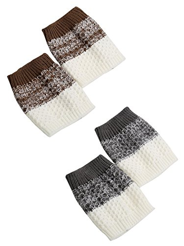 Blulu-Women-Boot-Cuffs-Topper-Socks-Knit-Leg-Warmers-Crochet-2-Pair