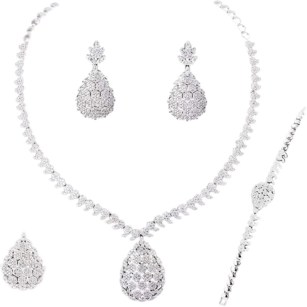 Jude Jewelers Classical Round Shape Rotating Cubic Zircon Charm Collar Statement Necklace