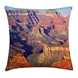 Lunarable Canyon Throw Pillow Cushion Cover, Epic South West Canyon Before Sunrise Tribal Ethnic National Landmark Wilderness Print, Decorative Square Accent Pillow Case, 26 X 26 inches, Brown