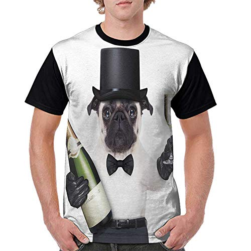 Summer Casual O-Neck,Pug,Celebration Dog with Champagne Bottle While Toasting Happy Moments Photographs,Black White Emerald S-XXL Baseball Short ()