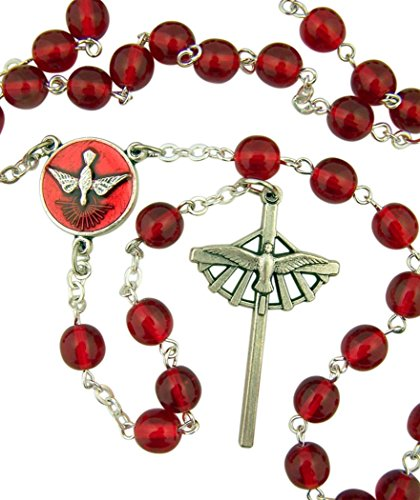 DTC Red Acrylic Bead Confirmation Rosary with Holy Spirit Center and Cross, 15 Inch
