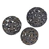 Household Essentials Metal Leaf Decorative Balls, 3Piece Set, Bronze
