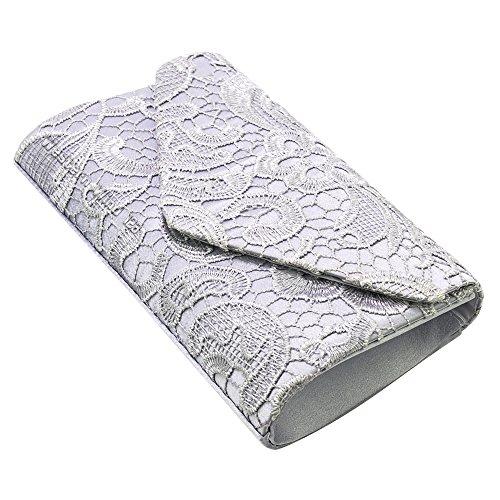 Fashion Handbag Bag Wedding Evening Lace Bag Envelope Ladies Bridal Wocharm Prom Silver Bag Clutch S6wqn5gXx