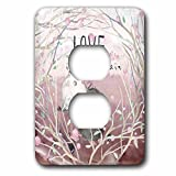 3dRose Uta Naumann Sayings and Typography - Cute Pink Spring Bird Kids Animal Illustration - Love Is In Air - Light Switch Covers - 2 plug outlet cover (lsp_275598_6)