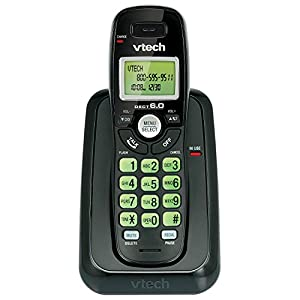 VTech 1-Handset DECT 6.0 Cordless Phone (CS6114-11 BLK) (Certified Refurbished)