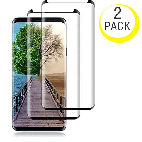 NiceFuse Compatible (Black) for Galaxy S9 Plus Tempered Glass Screen Protector, NiceFuse [2 Pack][Half Screen] Case Friendly,Anti-Scratch,Anti-Fingerprint,Bubble Free Compatible S9 Plus