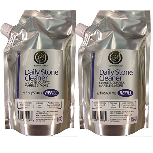 Supreme Surface Daily Stone Cleaner for Granite, Quartz, Marble and More (22oz Refill Buddies 2 Pak)