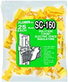 Fi-Shock SC-160 Yellow Polytape T-Post Insulators, 25-Per Bag