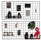 Hosal Multifunction Grid Panel,Wall Decor/ Sculptural Frames & Holders / Wall Display/ Organizer, Pack of 2 Pcs, Size:17.7'' x 37.4''/ 45 x 95 CM,Black