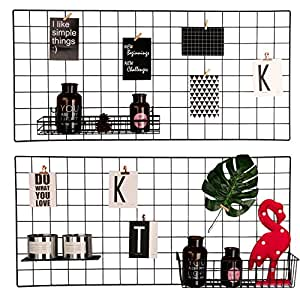 "Hosal Multifunction Grid Panel,Wall Decor/ Sculptural Frames & Holders / Wall Display/ Organizer, Pack of 2 Pcs, Size:17.7"" x 37.4""/ 45 x 95 CM,Black"