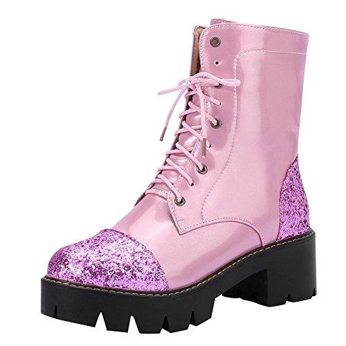 Le Paillettes Della Moda Delle Donne Del Piede Di Fascino Innalzano La Piattaforma Chunky Martin Gli Stivali Rosa