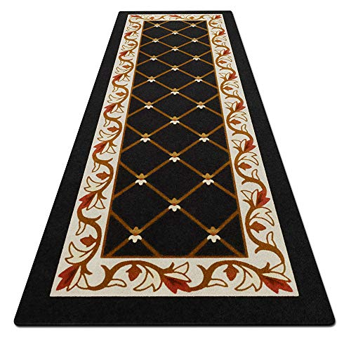 House, Home and More Skid-Resistant Carpet Runner - Traditional Lattice with Floral Border - Ebony Black - 12 Feet X 26 Inches