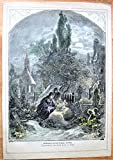 Antique Steel Engraving: Lighting Candles on a Grave