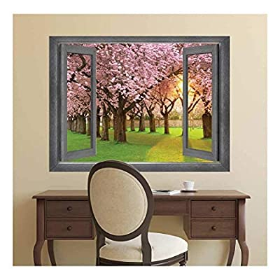 Fascinating Picture, Original Creation, Open Window Creative Wall Decor Peer into a Row of Blossom Trees Wall Mural