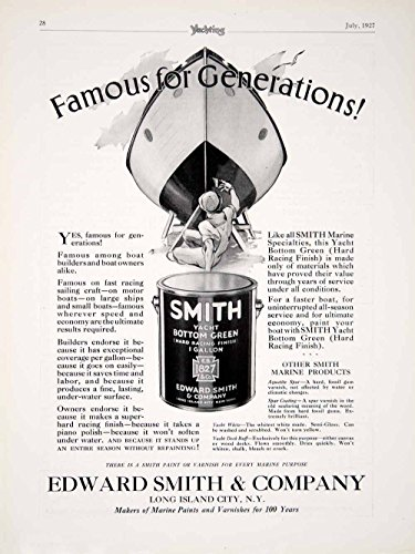 1927 Ad Edward Smith Yacht Bottom Green Hard Racing Finish Paint Boat Ship YYM1 - Original Print Ad from PeriodPaper LLC-Collectible Original Print Archive